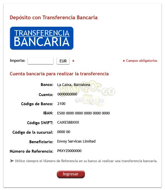 M todos de pago en un bingo online transferencia bancaria for Transferencia bancaria