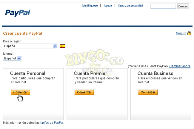 paypal espanol registrarse