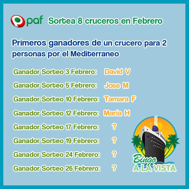 ganadores crucero bingo paf Los primeros 4 ganadores de un crucero y 4 cruceros más en juego en Bingo Paf