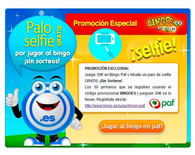 Promocion exclusiva: Regalo Palo Seflie en Bingo Paf