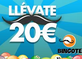Promoción sorteo 10 premios de 20€ de Bingote