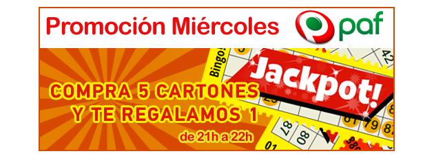 Los miércoles en Bingo Paf 1 cartón gratis al comprar 5